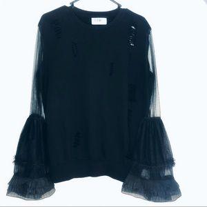 Seek the Label Organza Sleeve Distressed Sweater